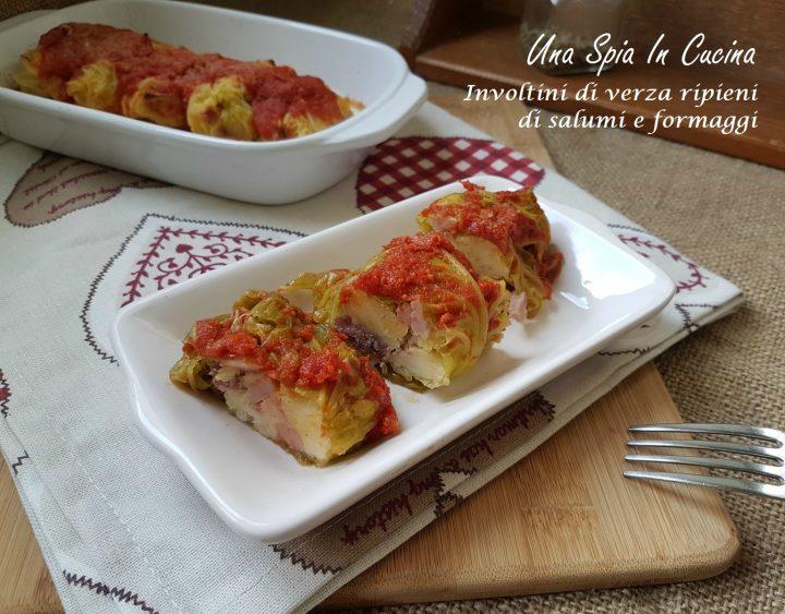 Involtini di verza ripieni di salumi e formaggi