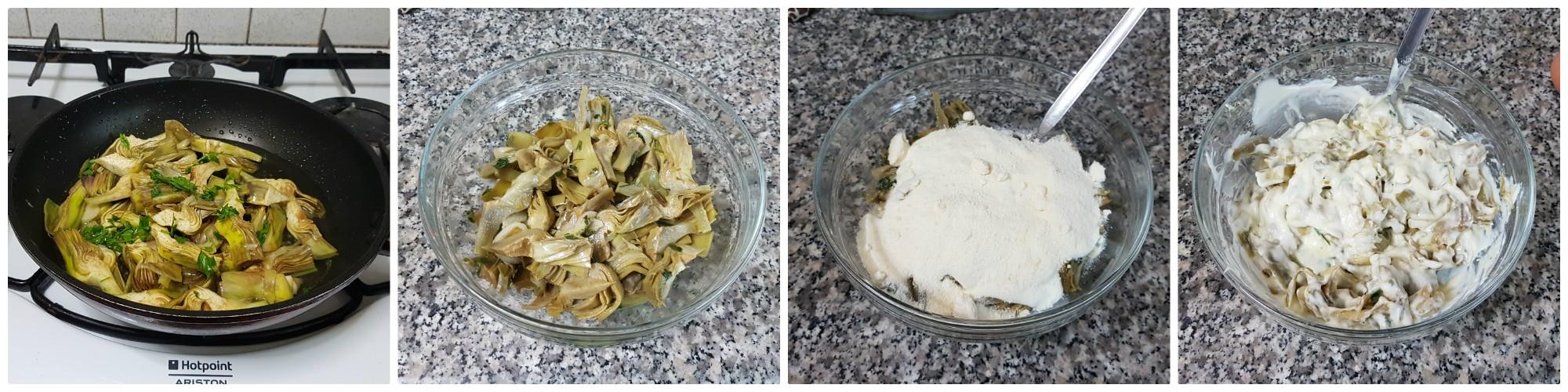 Torta salata con carciofi e stracchino