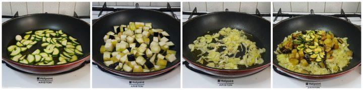 Pasta con sugo al tonno con melanzane e zucchine