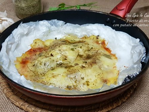 Filetto di orata con patate al cartoccio in padella