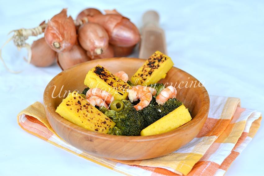 Insalata di polenta broccoli e gamberi