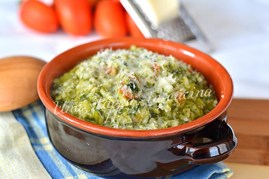 Risotto con broccoletti pomodorini e caciocavallo