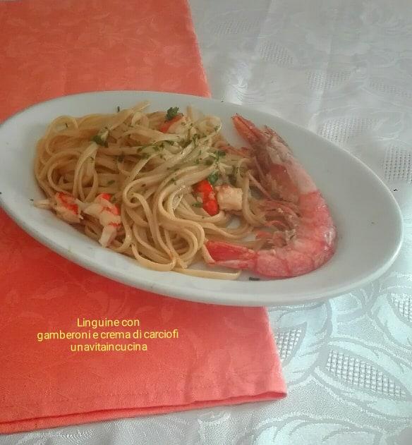 Linguine con gamberoni e crema di carciofi