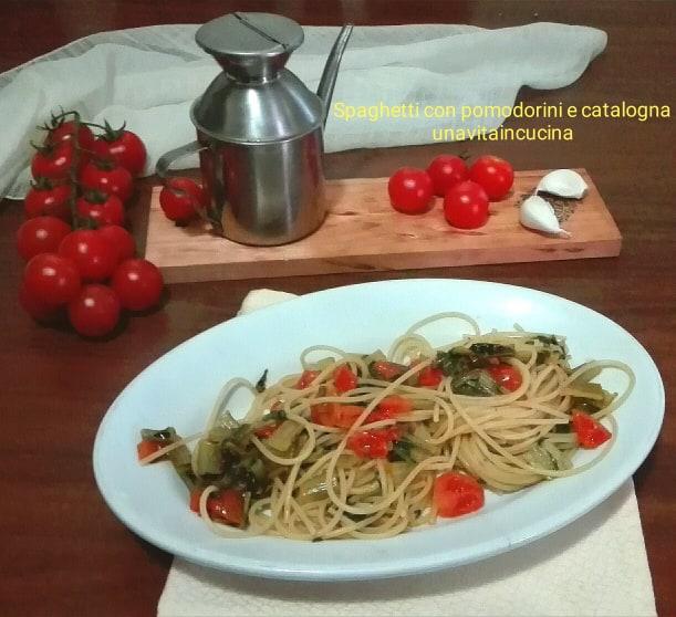 Spaghetti con pomodorini e catalogna