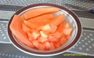 Risotto con melone e gamberoni