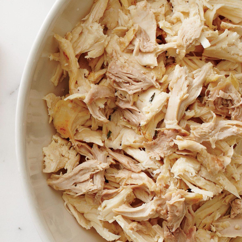 Pollo lesso al microonde, pulled chicken