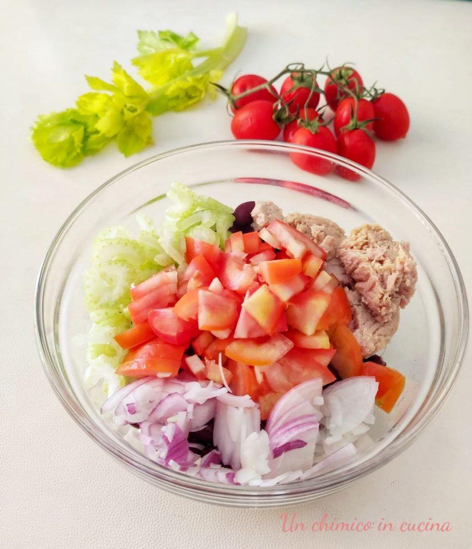 Insalata di fagioli rossi, tonno e cipolla