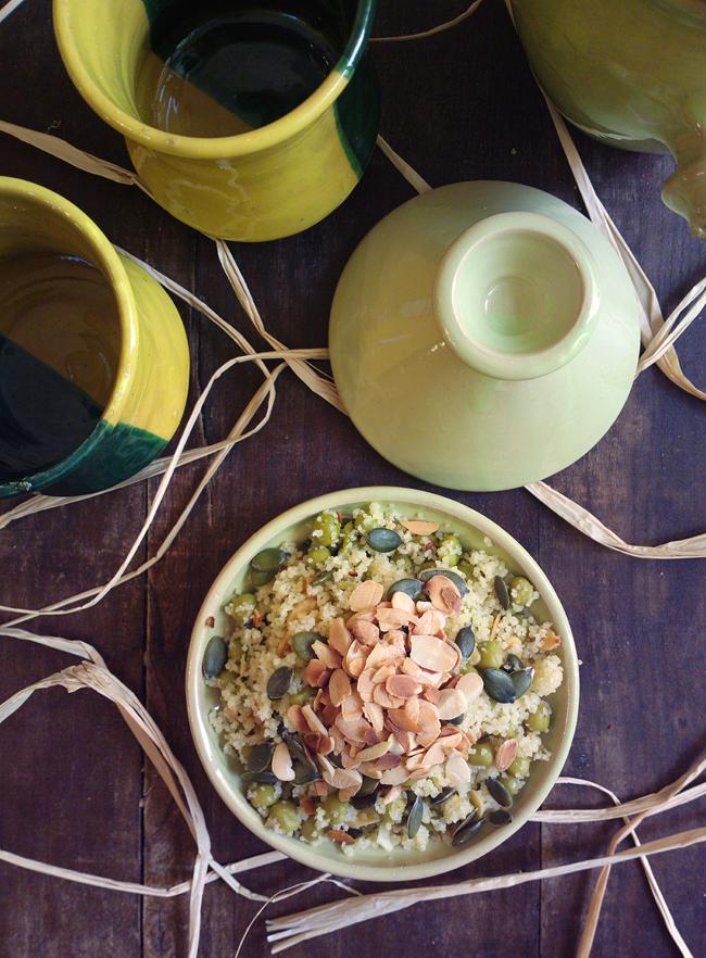 Mini tajine di cous cous croccante alle mandorle e semi di zucca