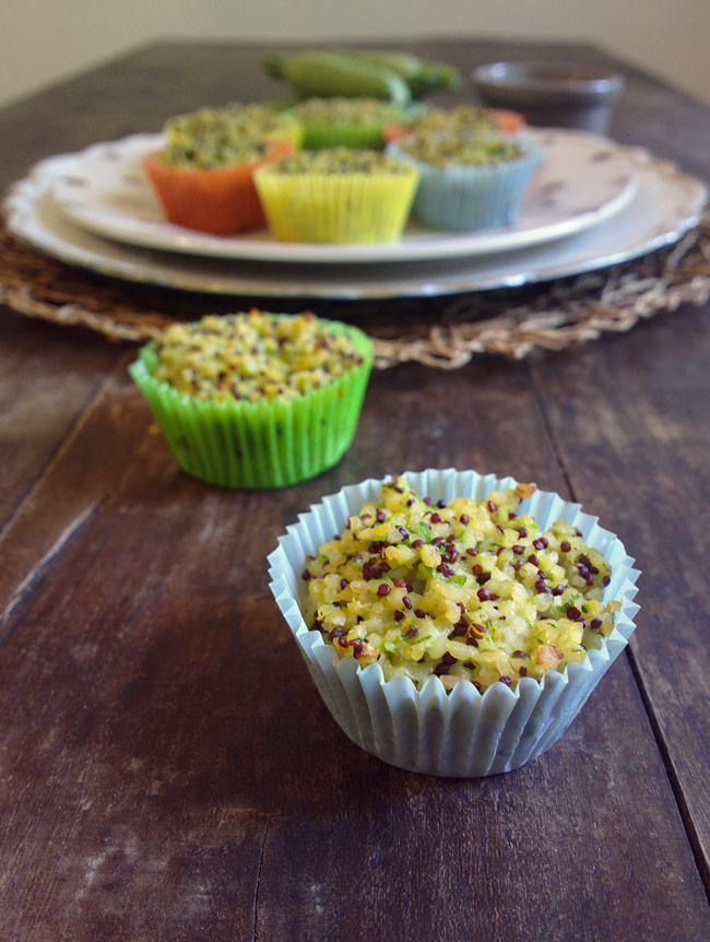 Finti muffin di bulgur, quinoa, zenzero e zucchine