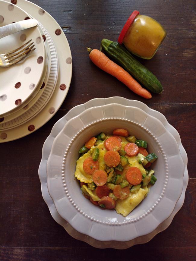 Ravioli carote, zucchine e curcuma
