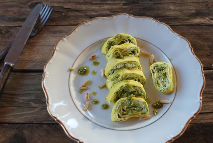 Rotoli light di pasta con zucchine e robiola