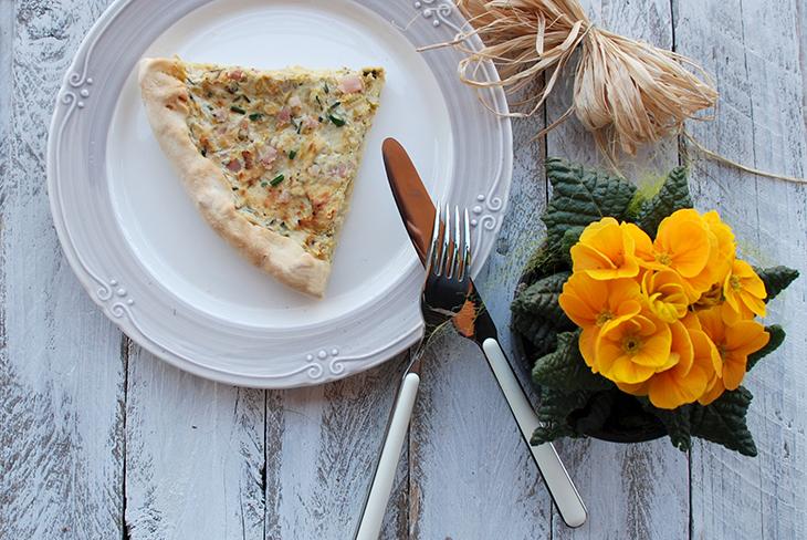 Torta salata light con porri, ricotta e speck