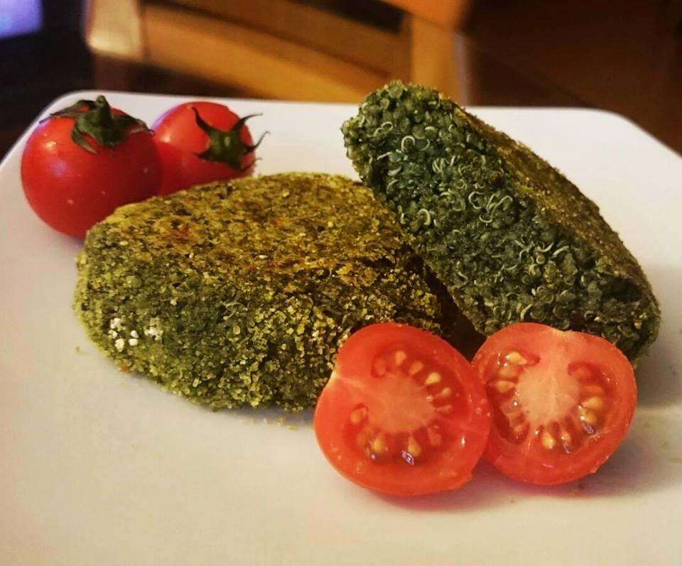 burger di quinoa e spinaci