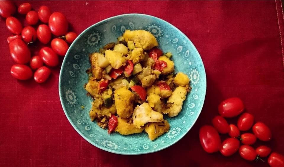 Pollo croccante con verdure