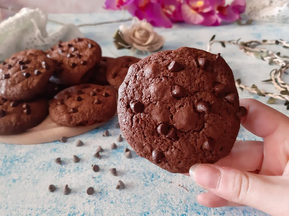 Double chocolate chip cookies senza glutine senza lattosio