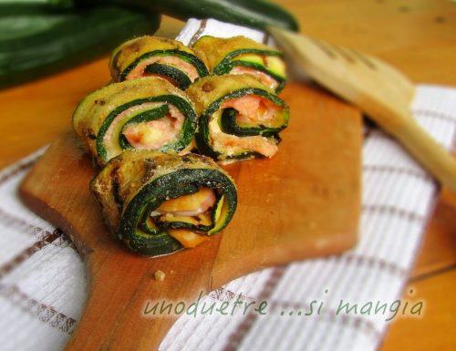 Bocconcini di zucchine con salmone e scamorza
