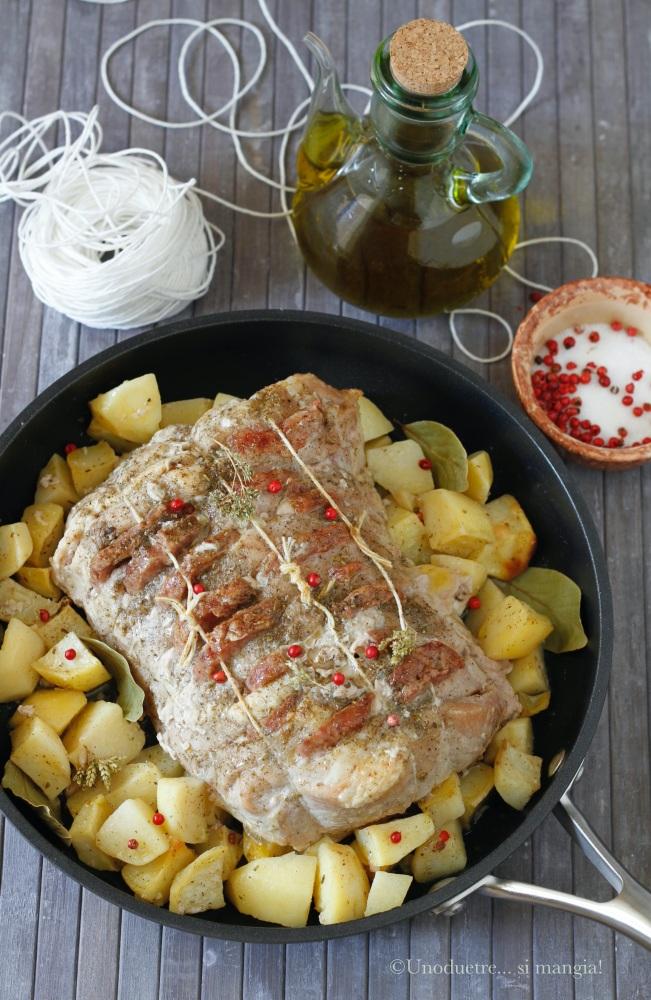 lonza al forno con cotechino e patate