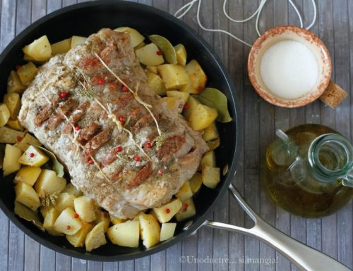 Arrosto di lonza al forno con cotechino e patate
