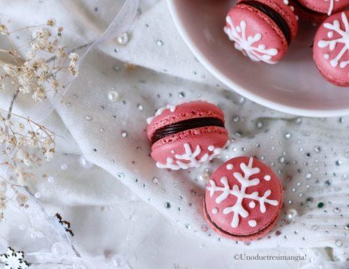 Macarons di Natale con ganache al cioccolato