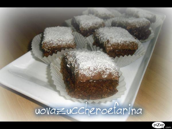 quadrotti cocco e cioccolato