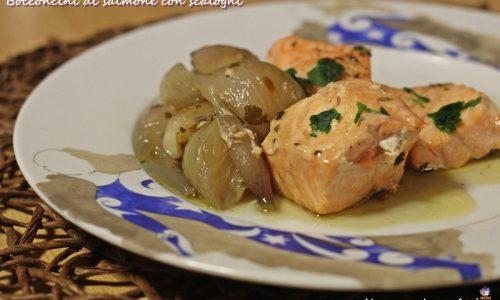 Bocconcini di salmone con scalogni