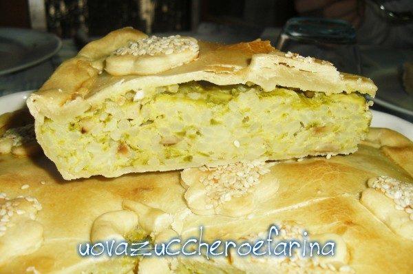 Torta salata di zucchine e riso