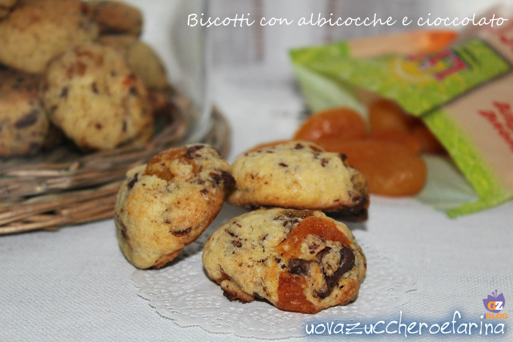 biscotti con albicocche e cioccolato
