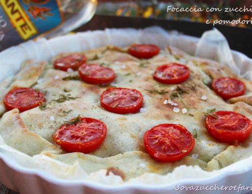 Focaccia con zucchine e pomodorini