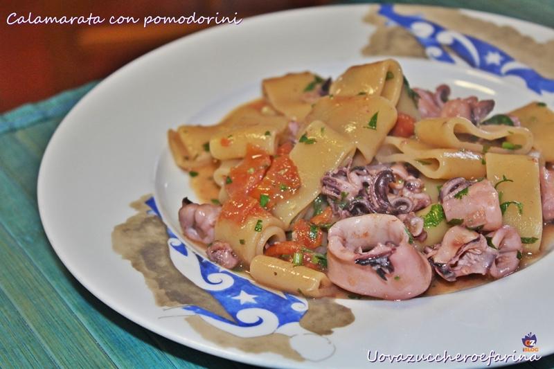 Calamarata con pomodorini ricetta uovazuccheroefarina - Buon pranzo in spagnolo ...