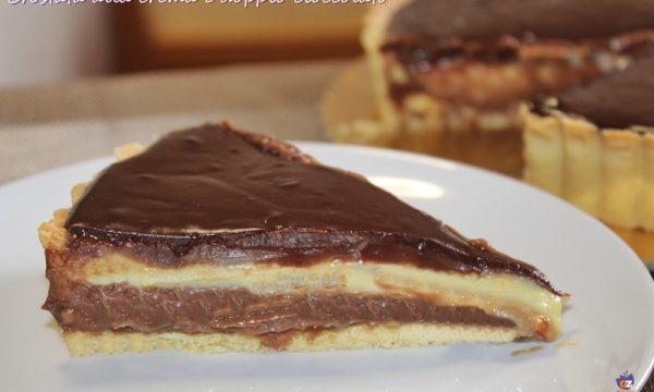 Crostata alla crema e doppio cioccolato