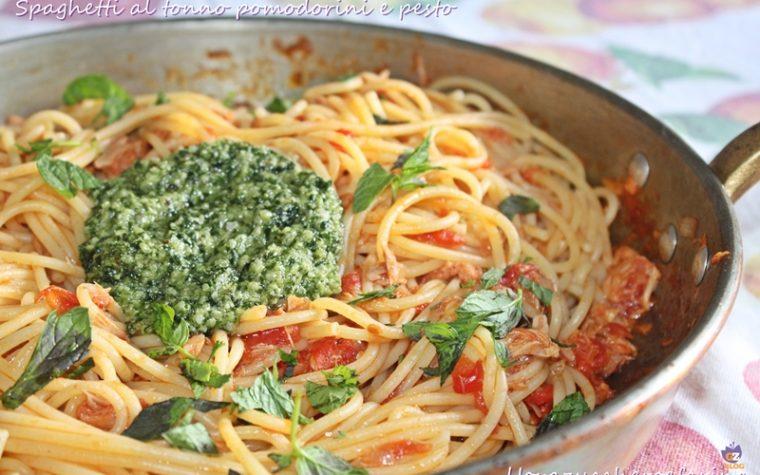 Spaghetti al tonno pomodorini e pesto