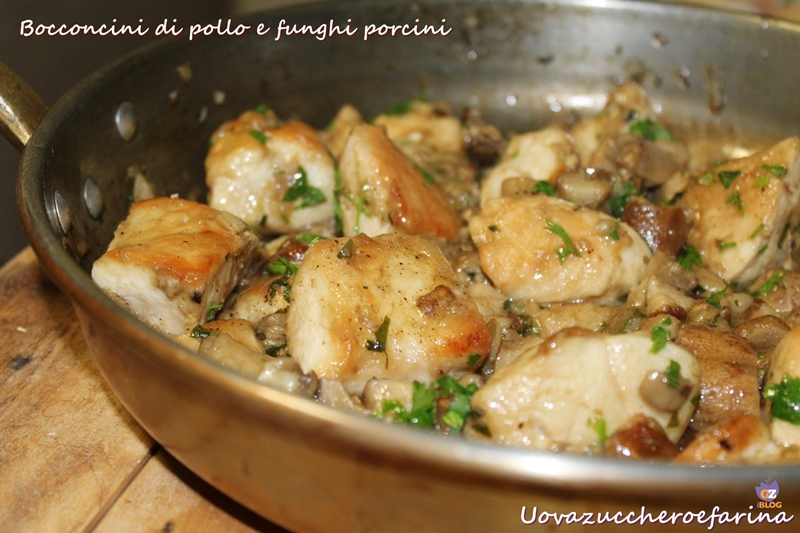 bocconcini di pollo e funghi porcini