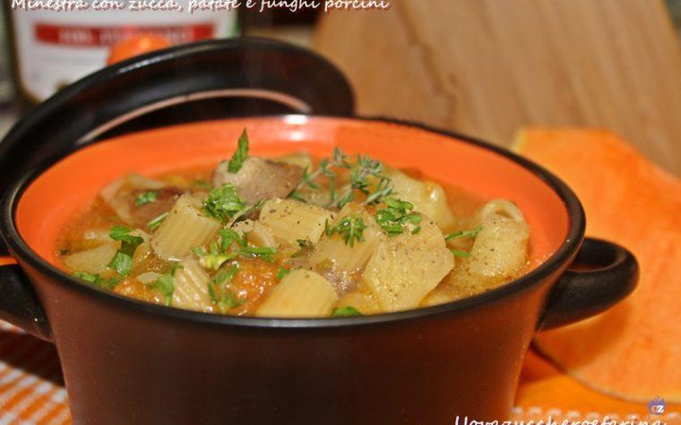 Minestra con zucca patate e funghi porcini