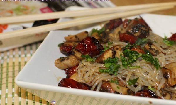 Shirataki di Konjac con pomodorini e funghi