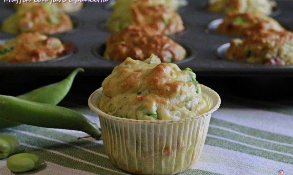 Muffin con fave e pancetta