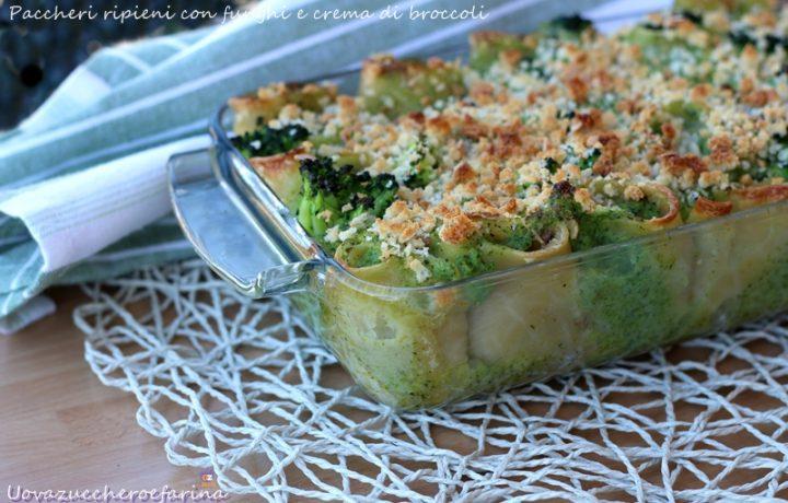Paccheri ripieni con funghi e crema di broccoli