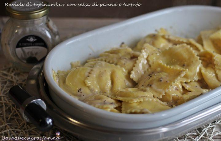Ravioli di topinambur con panna e tartufo