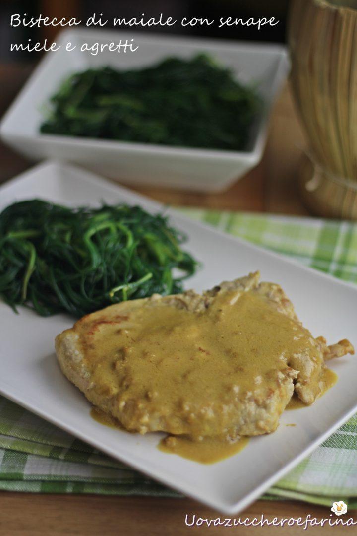 bistecca di maiale con senape miele e agretti ricetta facile