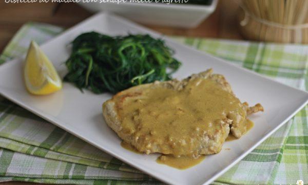 Bistecca di maiale con senape miele e agretti