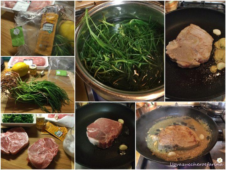 ricetta della bistecca di maiale con senape miele e agretti