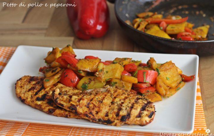 Petto di pollo e peperoni in padella
