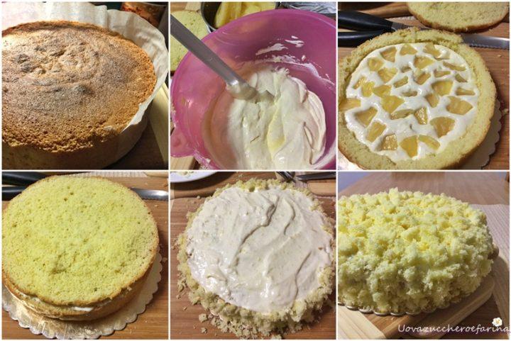 la ricetta passo passo della torta mimosa con ananas