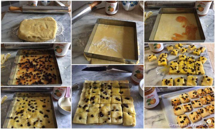 collage passo passo biscotti uvetta marmellata