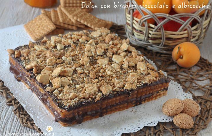 Dolce con biscotti cioccolato e albicocche