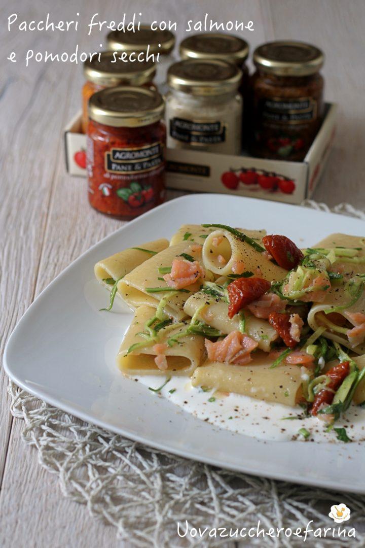 paccheri freddi salmone pomodori secchi Agromonte cuore burrata