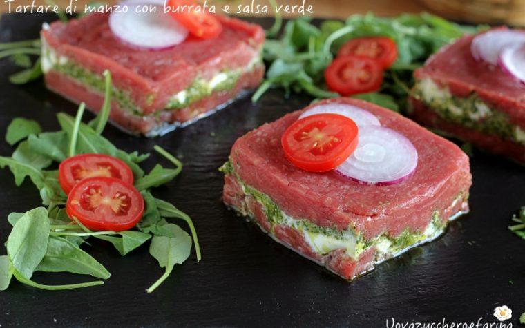 Tartare di manzo con burrata e salsa verde