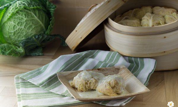 Involtini di verza con riso e prosciutto cotto