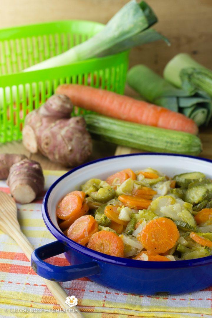 topinambur carote zucchine porri tegame ricetta contorno