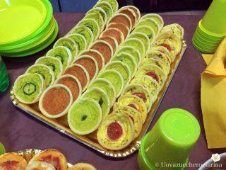 idee buffet compleanno miniquiches verdure zucchine asparagi peperoni