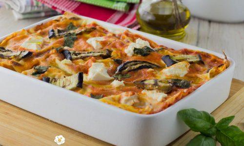 Lasagne con melanzane grigliate ricotta e scamorza